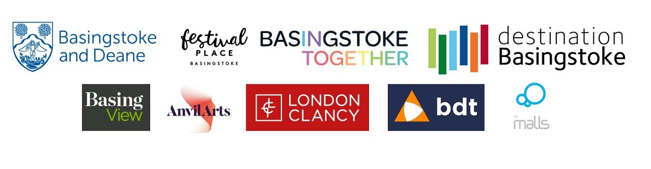 Logos for the Love Basingstoke group: Basingstoke and Deane Borough Council, Festival Place, Basingstoke Together, Destination Basingstoke, Basing View, Anvil arts, London Clancy, BDT and The Malls