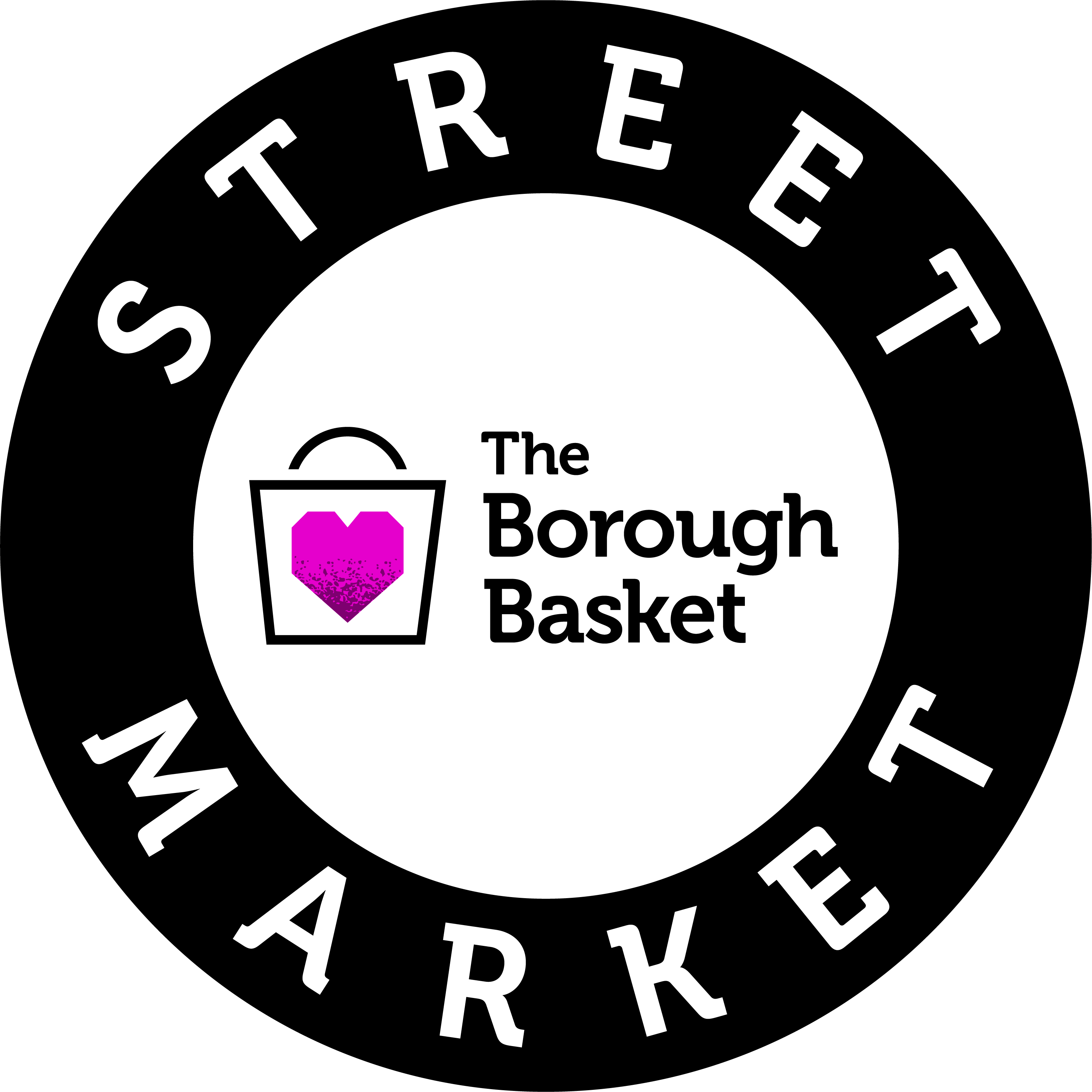 Round logo. Black ring wording reads Street Market with The Borough Basket logo in the middle.